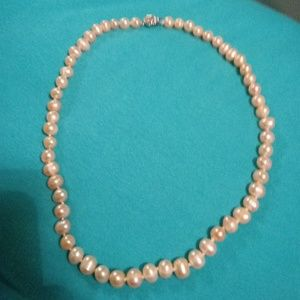 8 to 10mm pink freshwater pearl necklace
